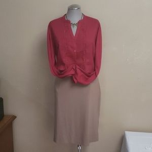 Red Coldwater Creek Blouse Size Lg 14